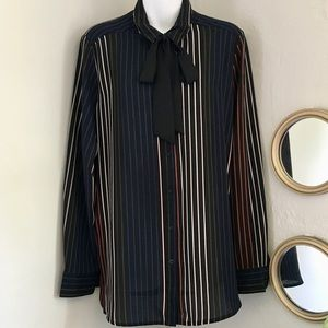 Who What Wear Stripes and Bow Button Down Blouse